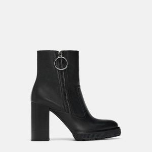 ZARA LEATHER PLATFORM ANKLE BOOTS NEW WITH TAGS